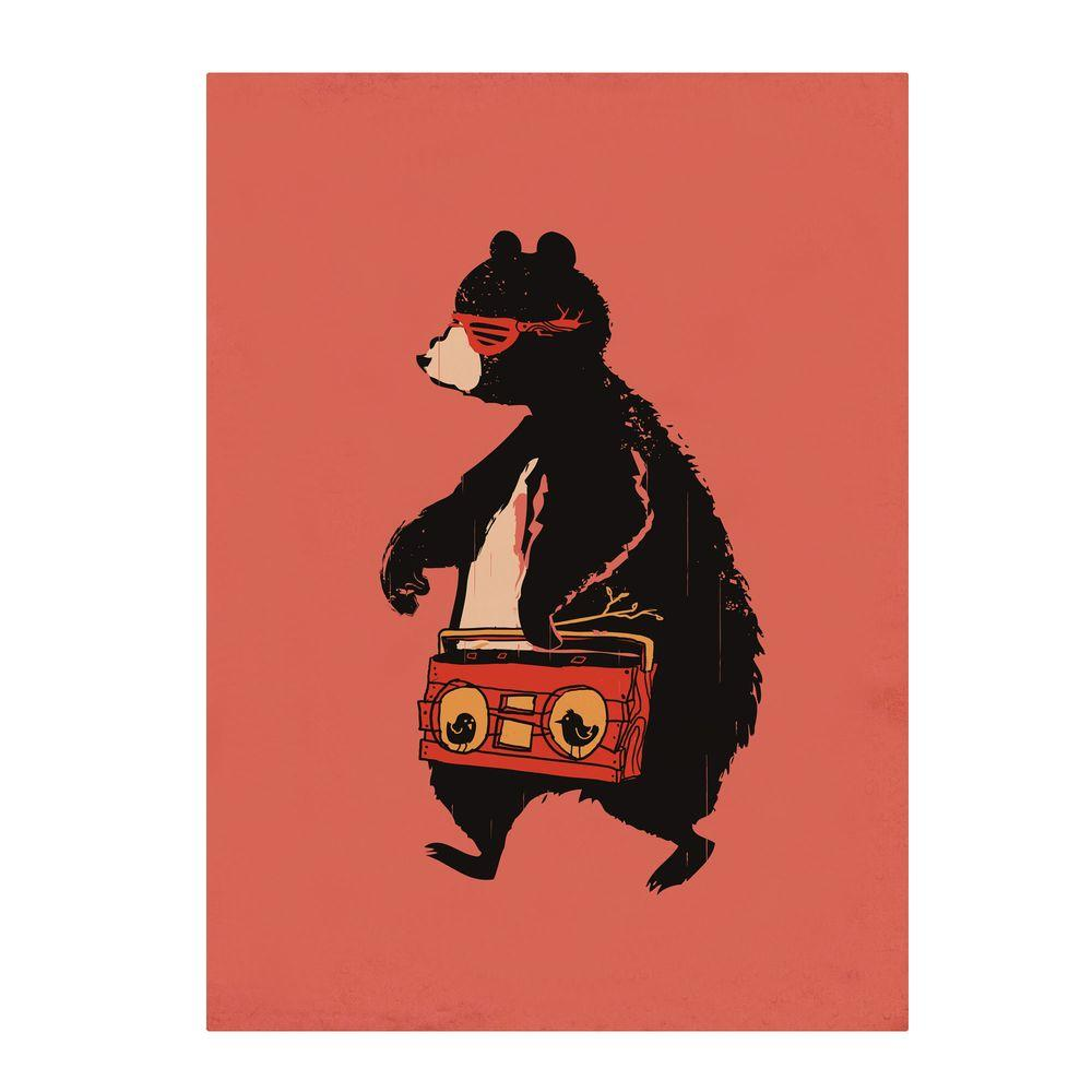 null 22 in. x 32 in. Boombox Bear Canvas Art