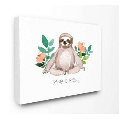 """24 in. x 30 in. """"Take It Easy Peach Floral Sloth Watercolor"""" by Elise Engh Canvas Wall Art"""
