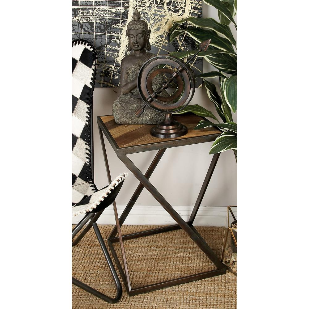 Brown and Black Modern Chevron Side Tables (Set of 2)