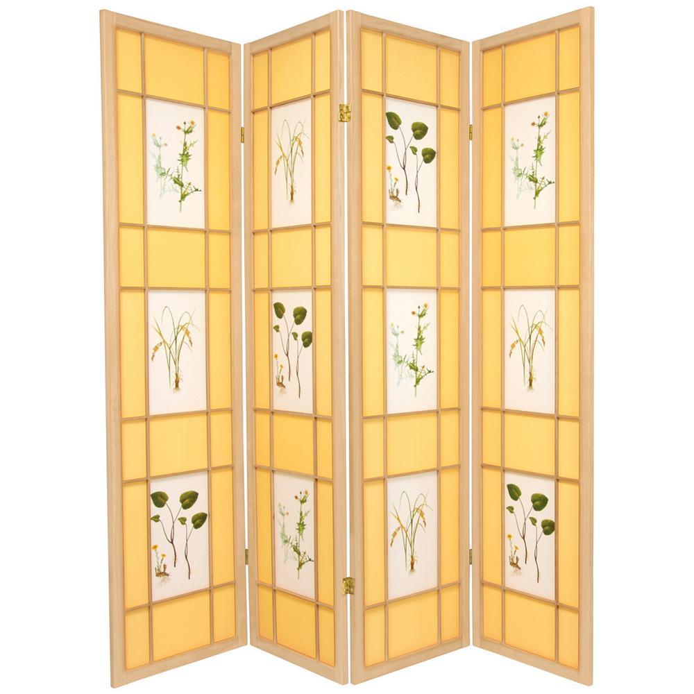 Oriental Furniture 6 ft. Natural 4-Panel Room Divider SHFL-NAT-4P