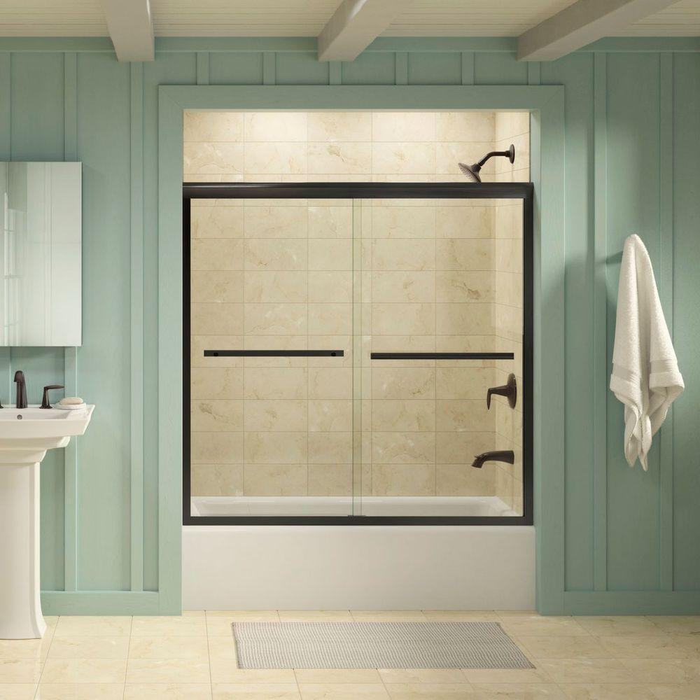 Gradient 59-5/8 in. x 58-1/16 in. Semi-Frameless Sliding Tub Door in Anodized Dark Bronze