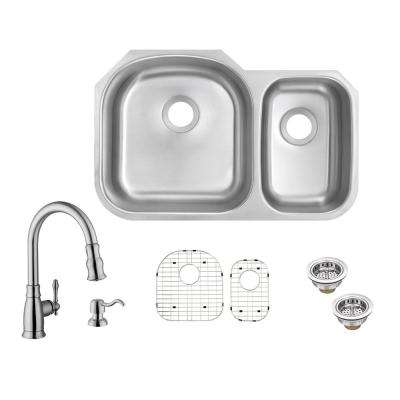 All-in-One Undermount 18-Gauge Stainless Steel 32 in. 70/30 Double Bowl Kitchen Sink with Pull-Out Kitchen Faucet