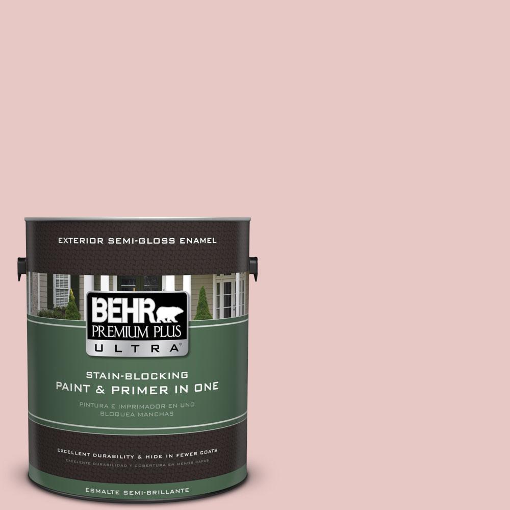 BEHR Premium Plus Ultra 1-gal. #150E-2 Kashmir Pink Semi-Gloss Enamel Exterior Paint