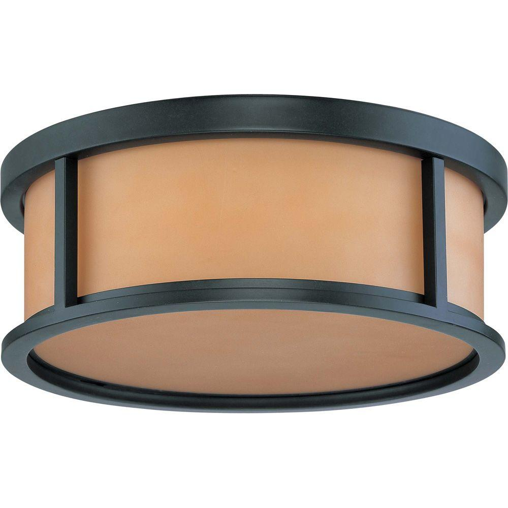 Glomar Odeon 3 Light 17 in. Flush Dome with Parchment Glass Finished in Aged Bronze