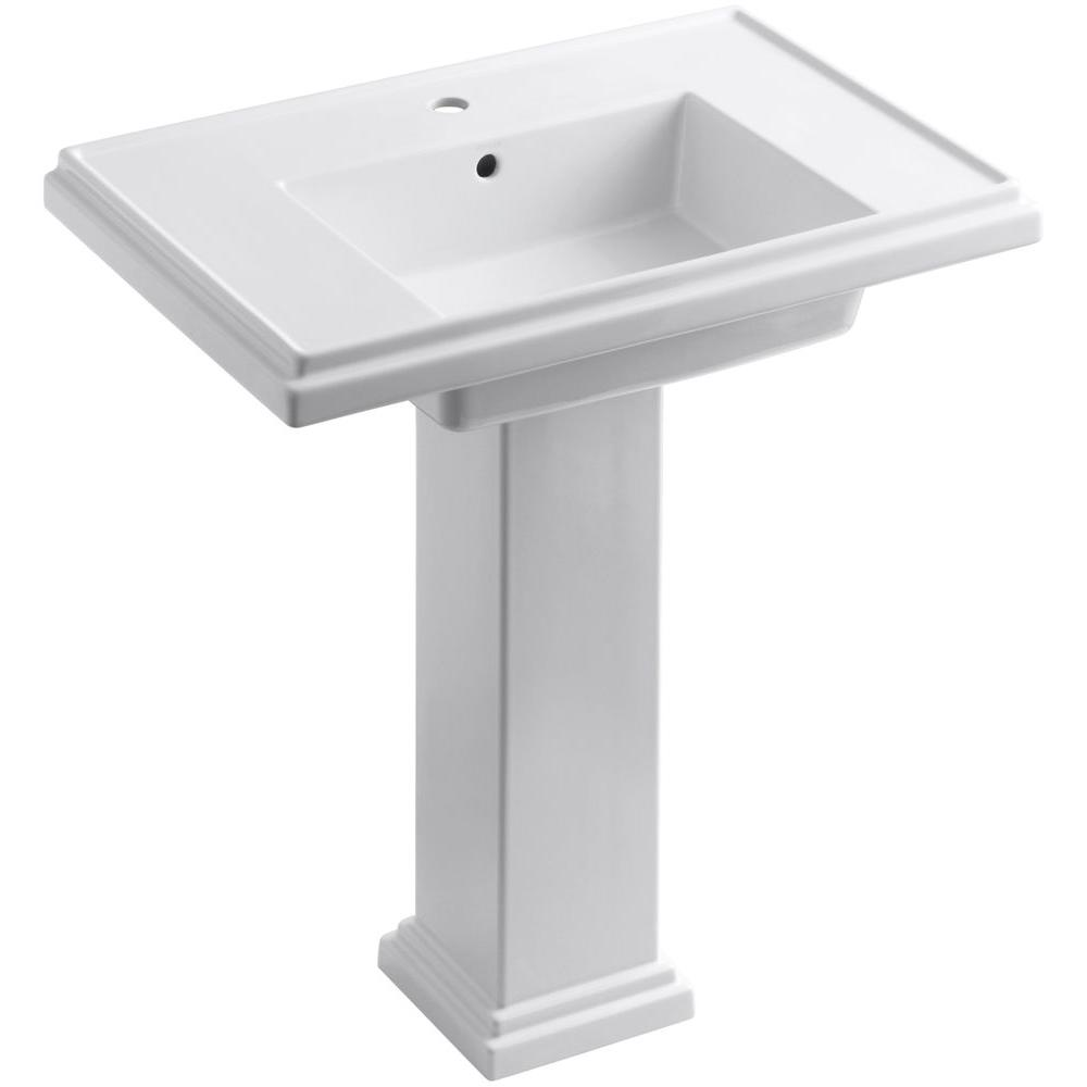 KOHLER Tresham Ceramic Pedestal Combo Bathroom Sink With Single Hole Faucet  Drilling In White With