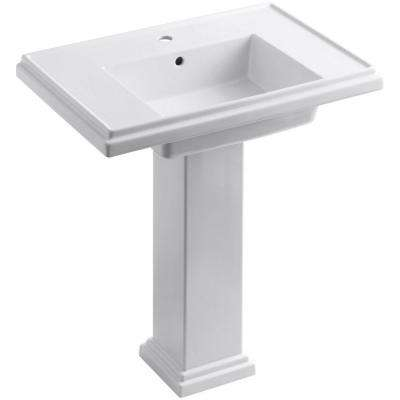 Tresham Ceramic Pedestal Combo Bathroom Sink With Single Hole Faucet  Drilling In White With Overflow