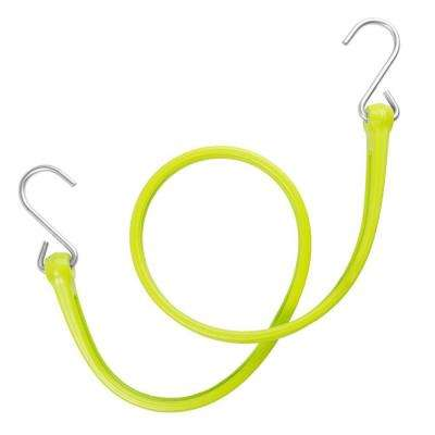 31 in. EZ-Stretch Polyurethane Bungee Strap with Galvanized S-Hooks (Overall Length: 36 in.) in Safety Green