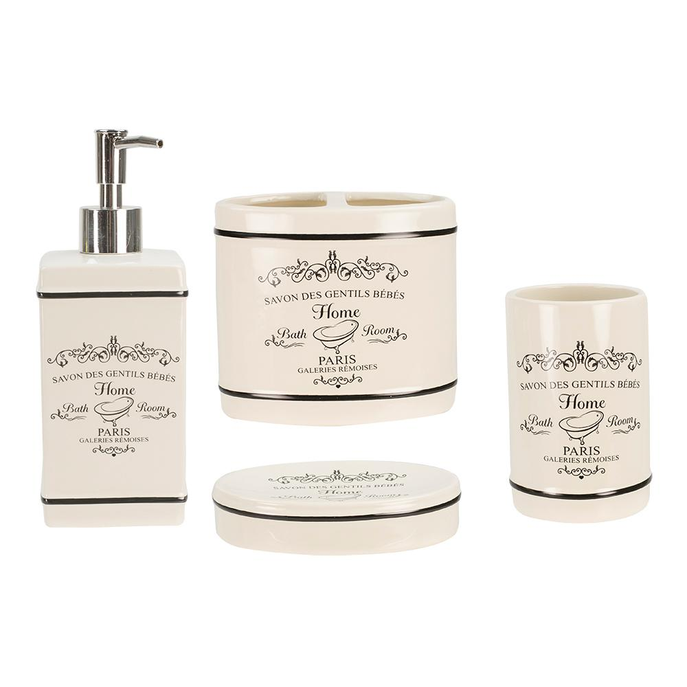 4-Piece Paris Bath Accessory Set in White
