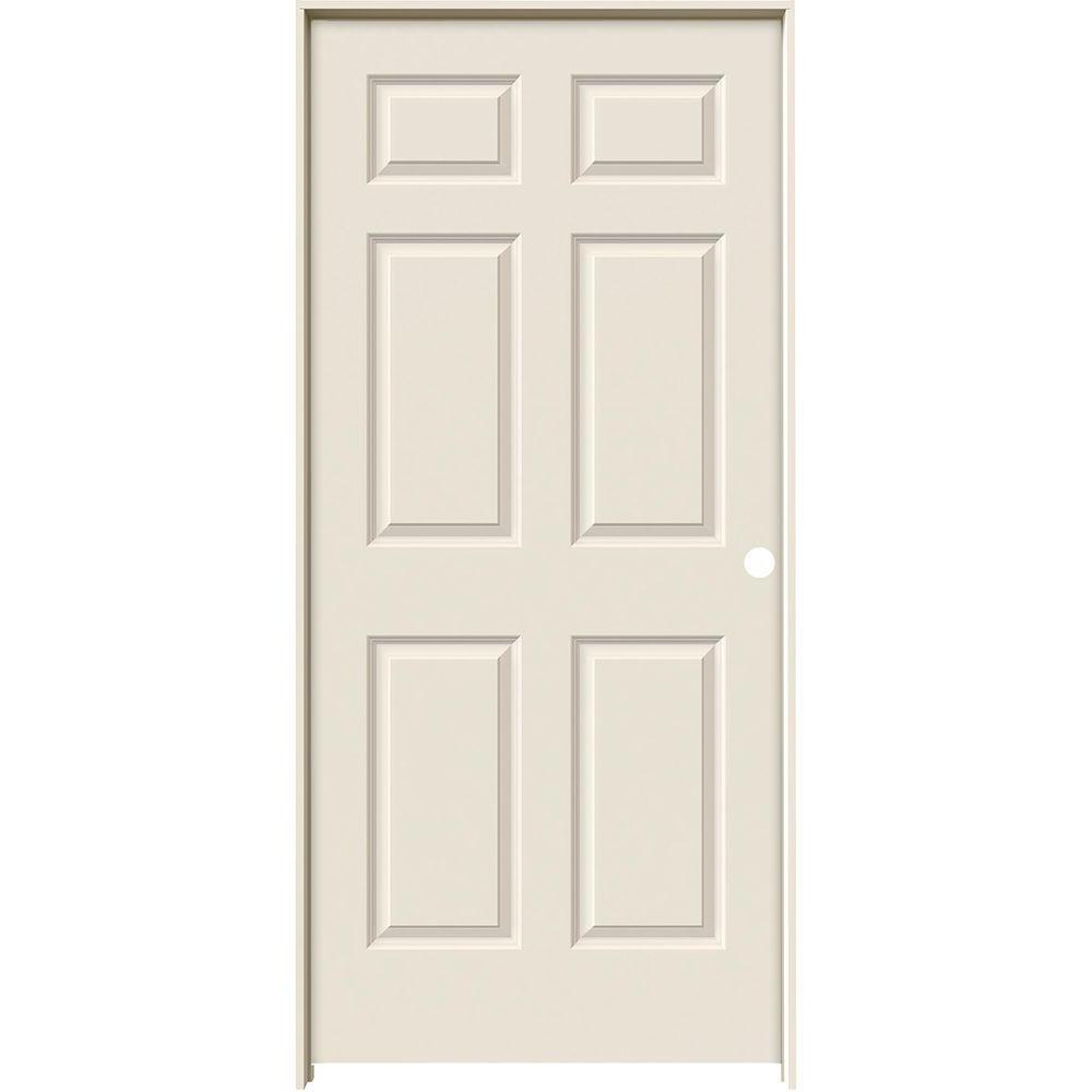 Jeld Wen 36 In X 80 In Colonist Primed Left Hand Smooth Molded Composite Mdf Single Prehung Interior Door With 6 916 In Jamb