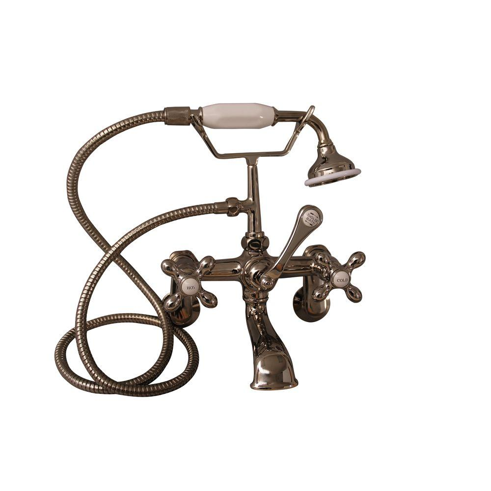 Metal Cross 3-Handle Claw Foot Tub Faucet with Handshower in Polished