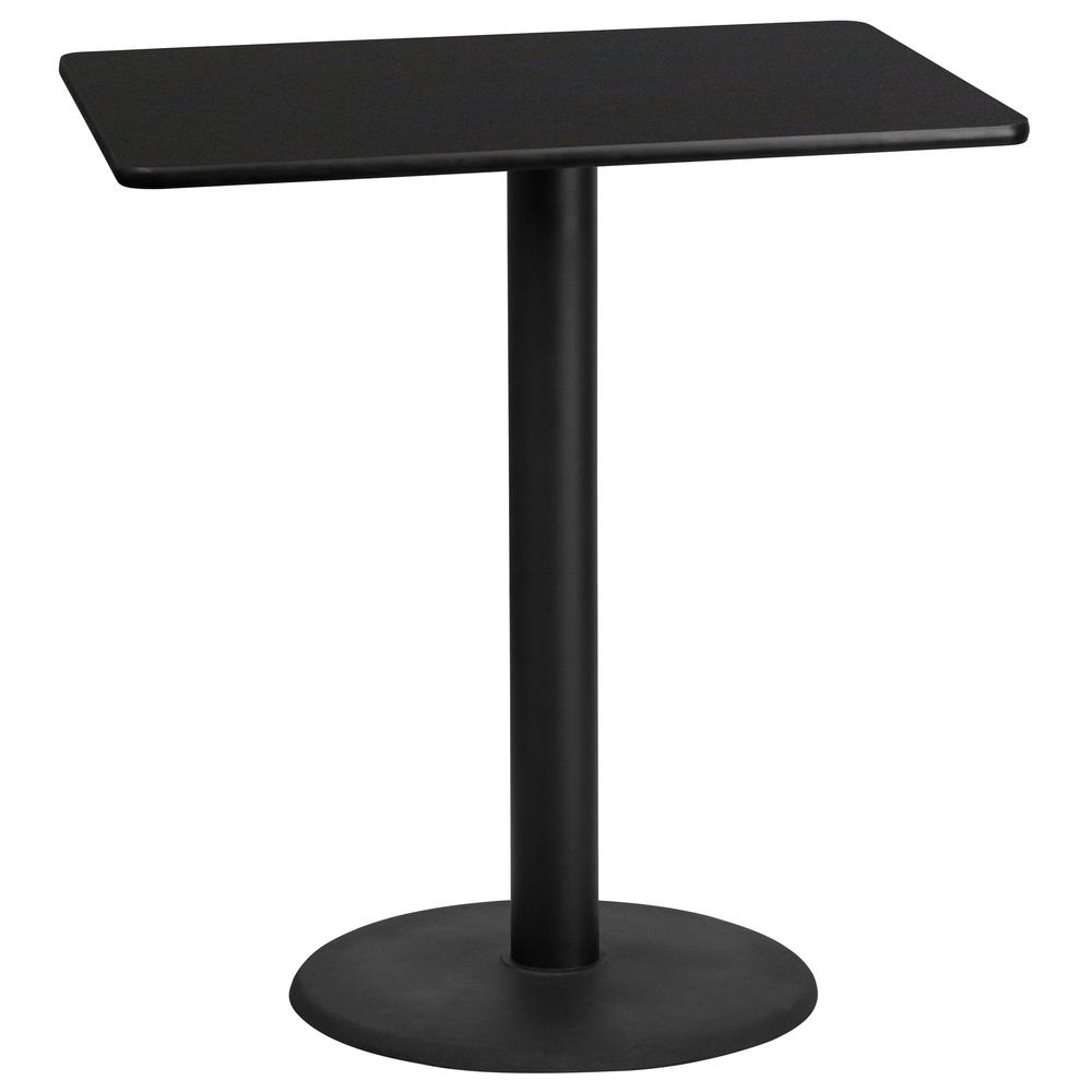 Rectangular Black Laminate Table Top With 24 In Round Bar Height Base Xubk3042tr24b The Home Depot