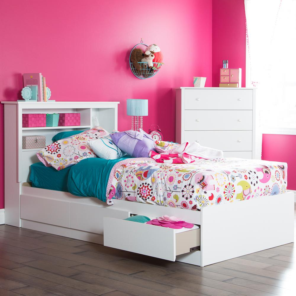 south shore vito twin size bed frame in pure white 3150212 the home depot. Black Bedroom Furniture Sets. Home Design Ideas