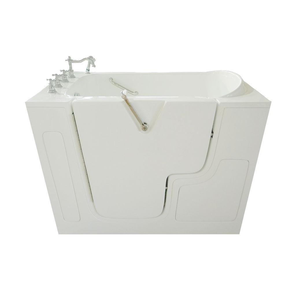 4.33 ft. Left Drain Wheelchair Accessible Walk-In Bathtub in White