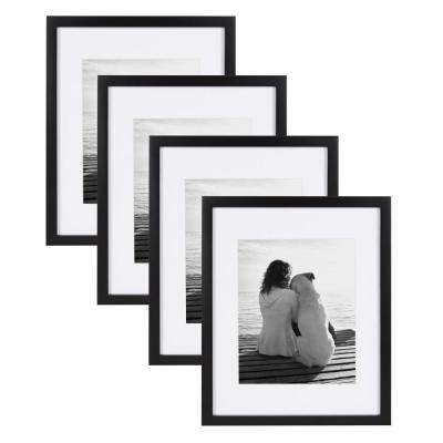 Gallery 11 in. x 14 in. Matted to 8 in. x 10 in. Black Picture Frame (Set of 4)