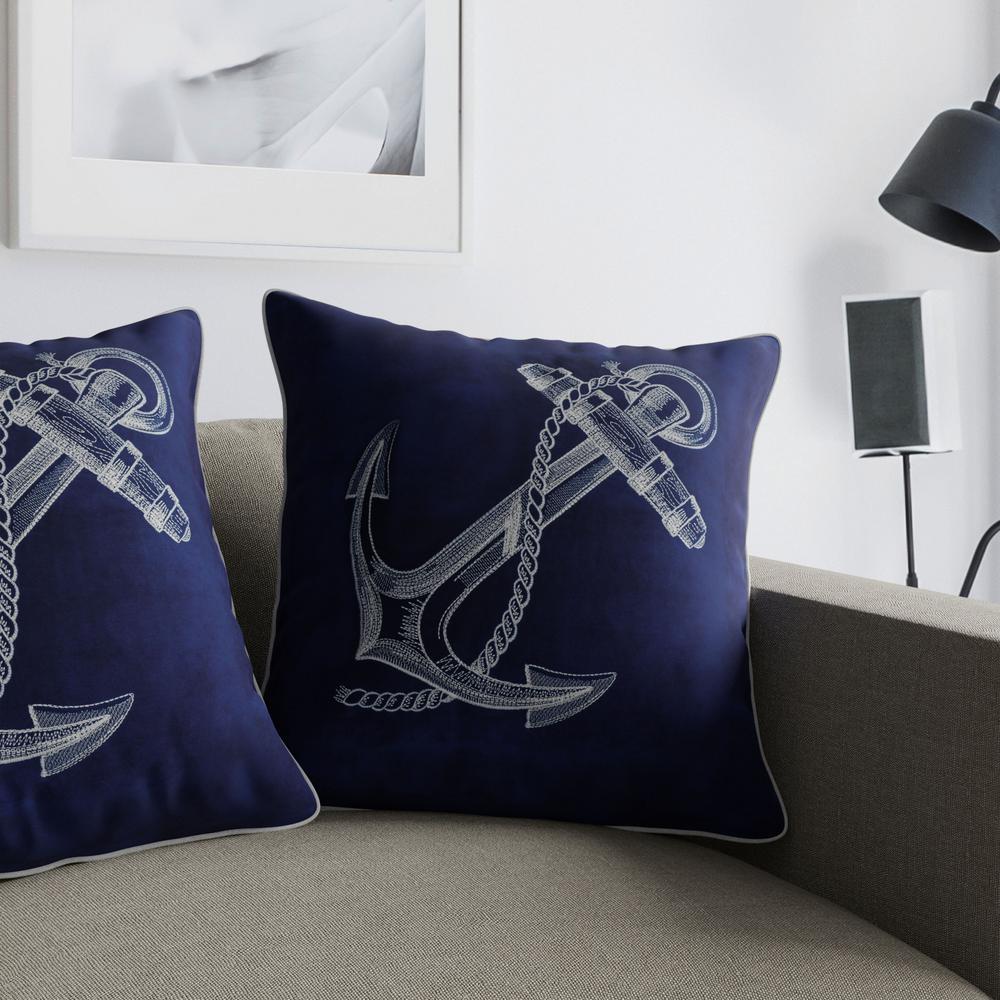 Anchor II Blue Decorative Pillow (Set of 2)