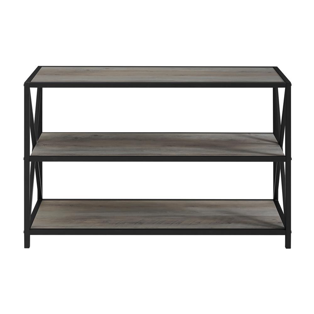 40 in. Grey Wash X Frame Metal and Wood Media Bookshelf