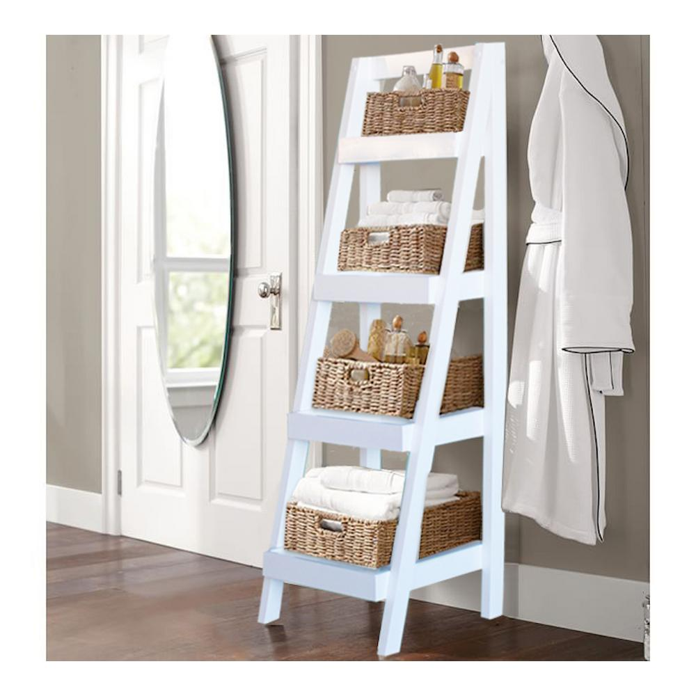 Bathroom Storage Ladder In White Brl3000wh The Home Depot