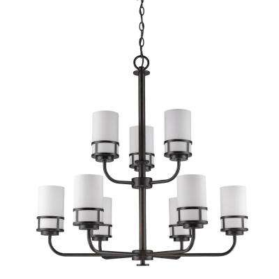 Alexis Indoor 9-Light Oil Rubbed Bronze Chandelier with Glass Shades