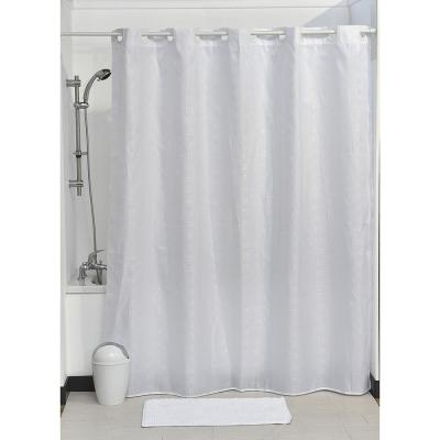 Hookless Shower Curtain Polyester Cubic- Color Matching Hooks 71 in. L x 79 in. H/ 180 x 200 cm White