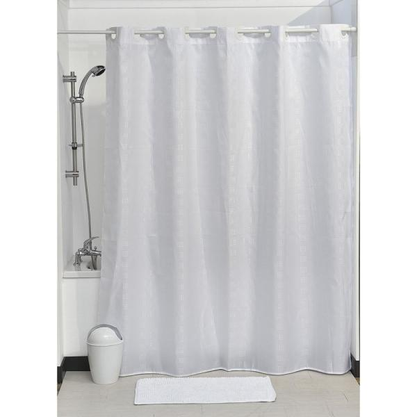 Hookless Shower Curtain Polyester Cubic- Color Matching Hooks 71 in. L