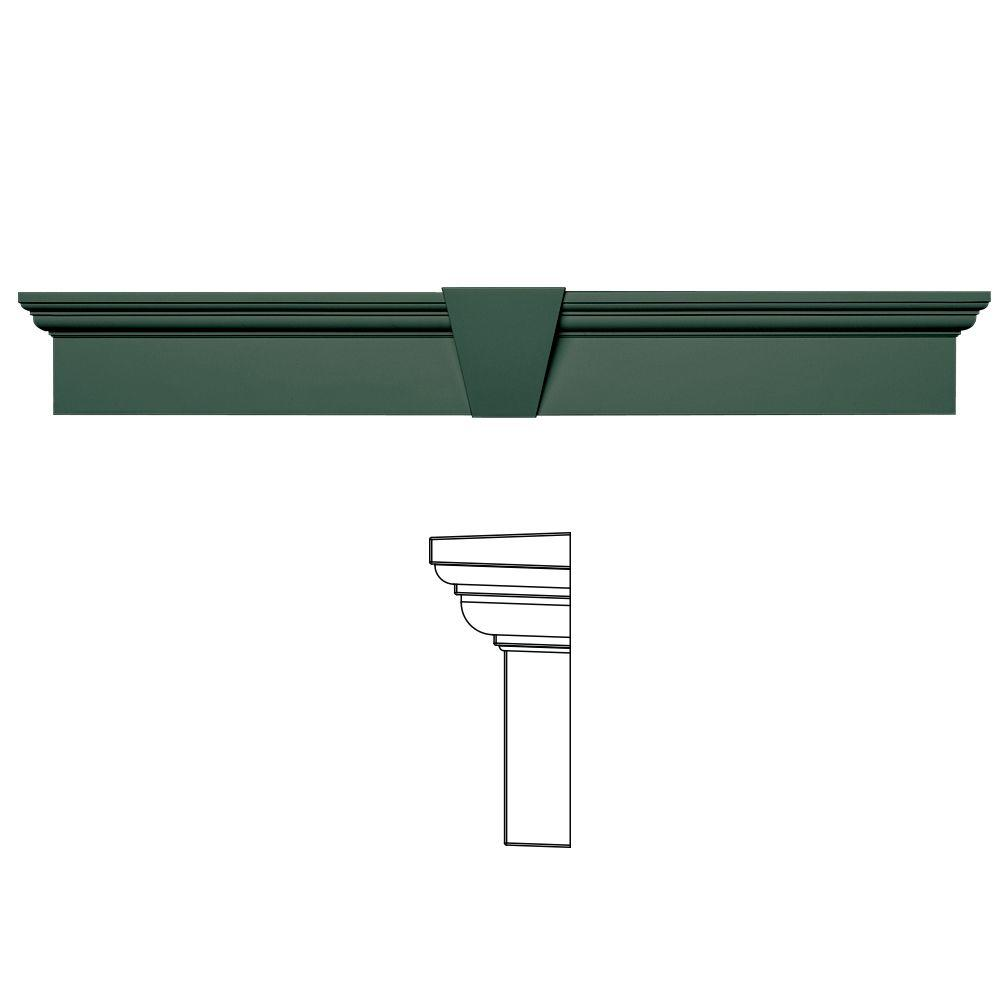 Builders Edge 6 in. x 43-5/8 in. Flat Panel Window Header with Keystone in 028 Forest Green