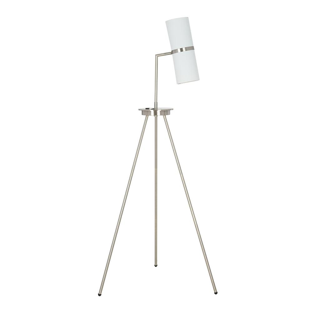 sale retailer 06b8d d4130 Cresswell 60.75 in. Brushed Steel Contemporary Tripod Floor Lamp with USB  port