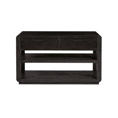 Allure 48 in. Black Rectangle Wood Console Table with Drawers
