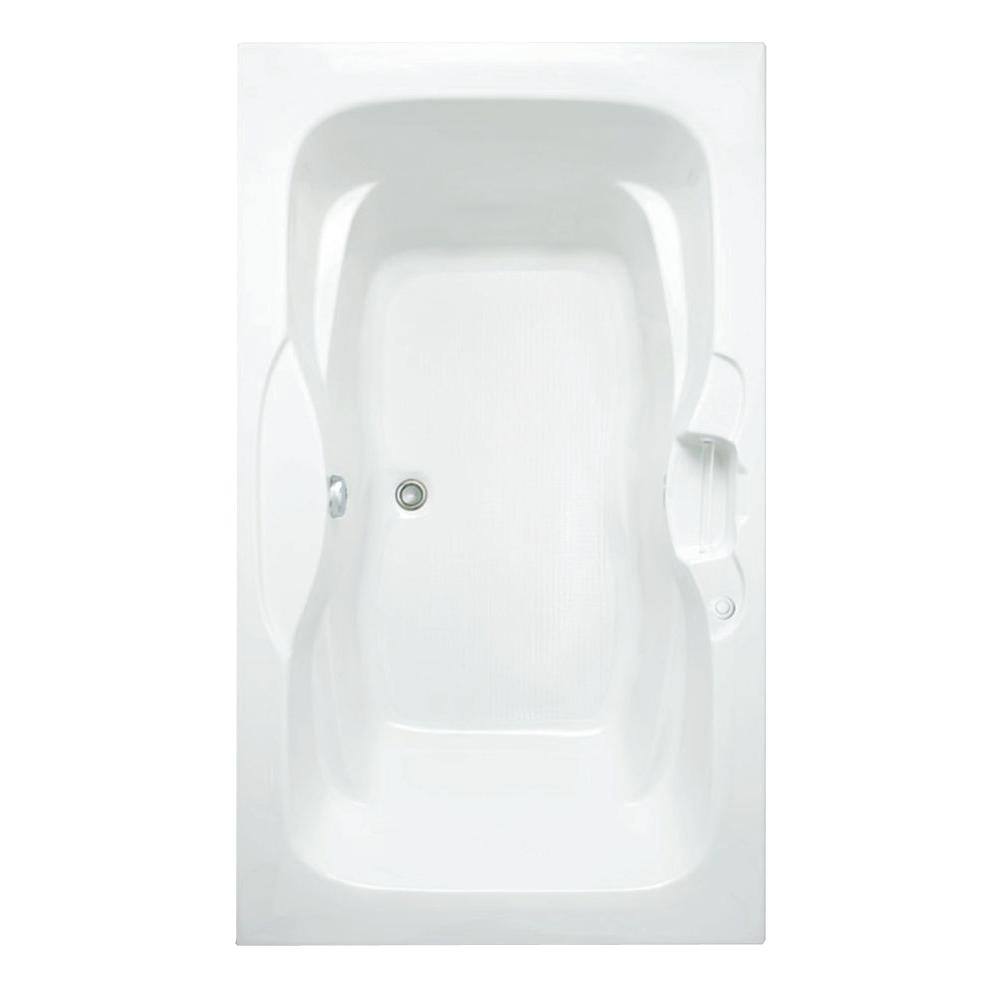 Aquatic Morice 6 ft. Acrylic Center Drain Rectangular Drop-in Soaking Bathtub in White