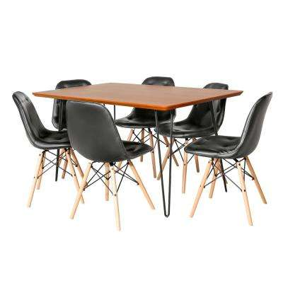 Contemporary Mid Century Modern Square Hairpin 7-Piece Walnut/Black Dining Set with Eames Chairs