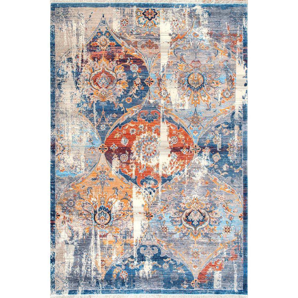 Nuloom Washable Rugs: NuLOOM Zenia Floral Fringe Blue 4 Ft. X 6 Ft. Area Rug