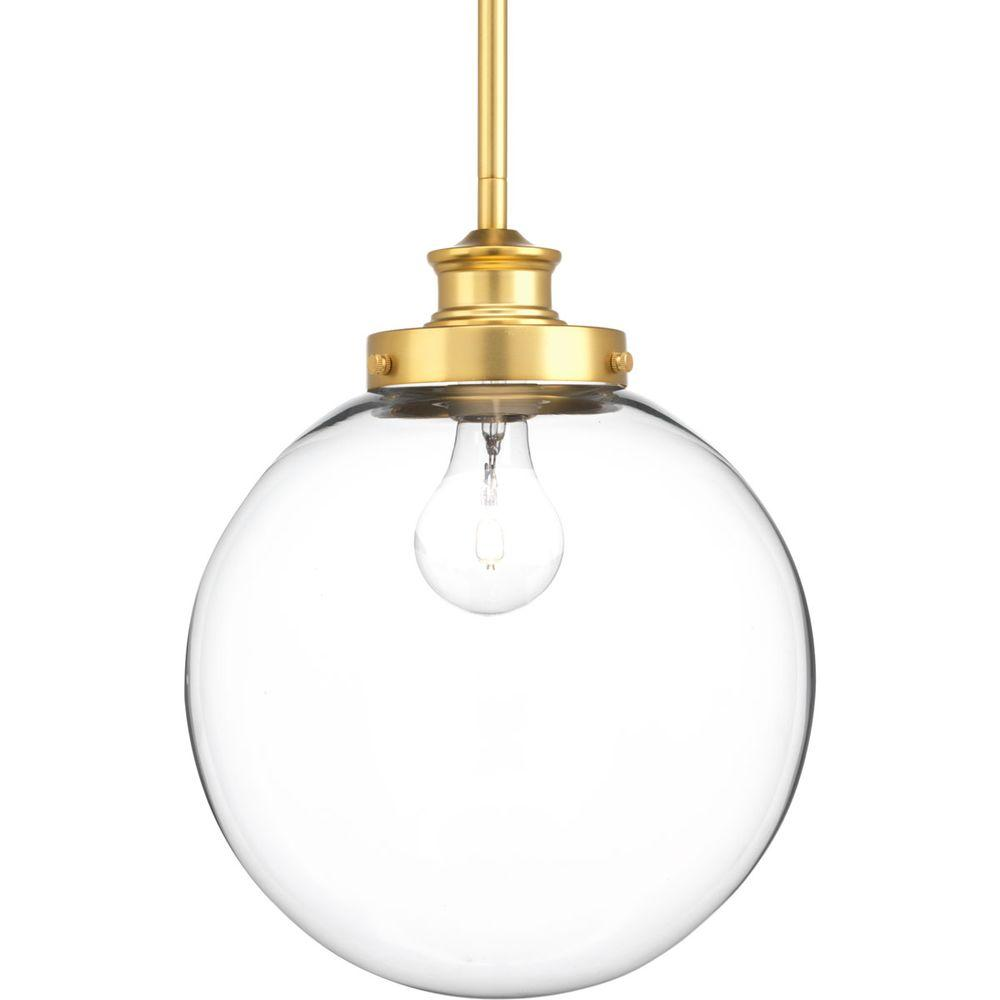 Progress Lighting Penn 1-Light Natural Brass Pendant with Clear Glass