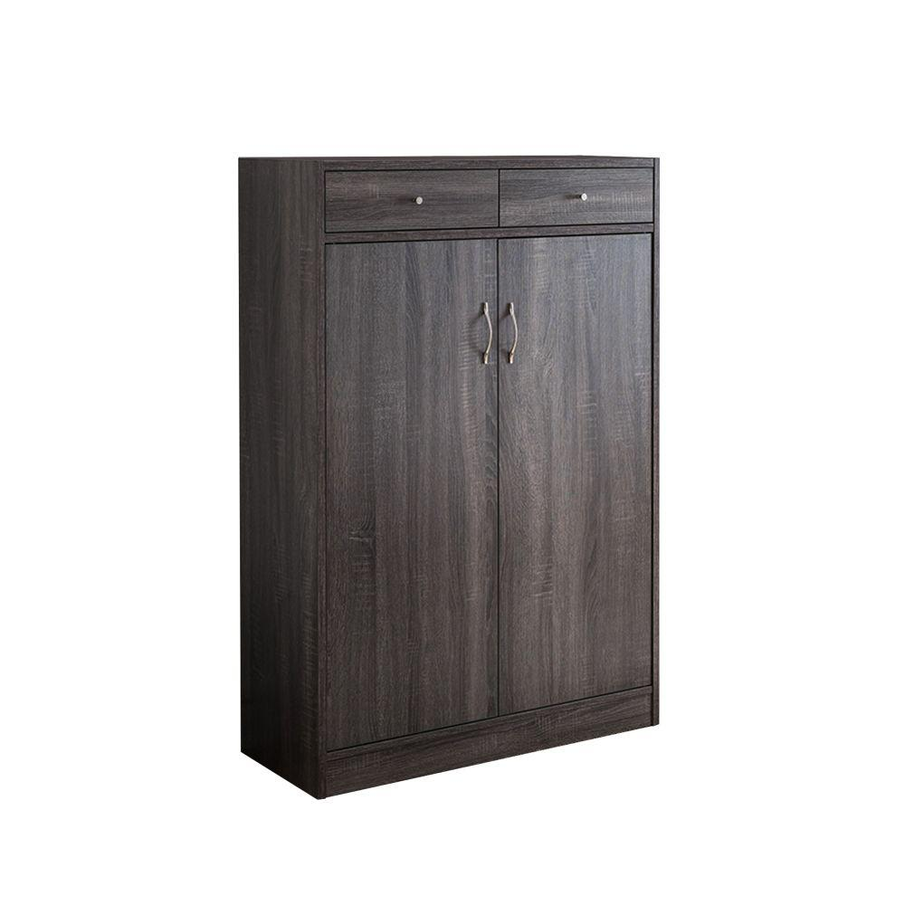 Benzara 15-Pair Gray Wood Shoe Cabinet with Shoe Storage