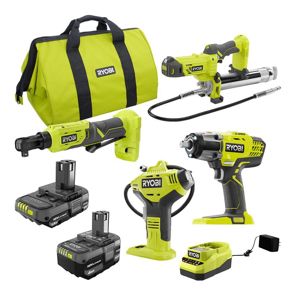 Ryobi ONE+ Cordless 4-Tool Combo Kit w/Handheld Electrostatic Sprayer
