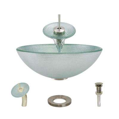 Glass Vessel Sink in Sparkling Silver with Waterfall Faucet and Pop-Up Drain in Bushed Nickel