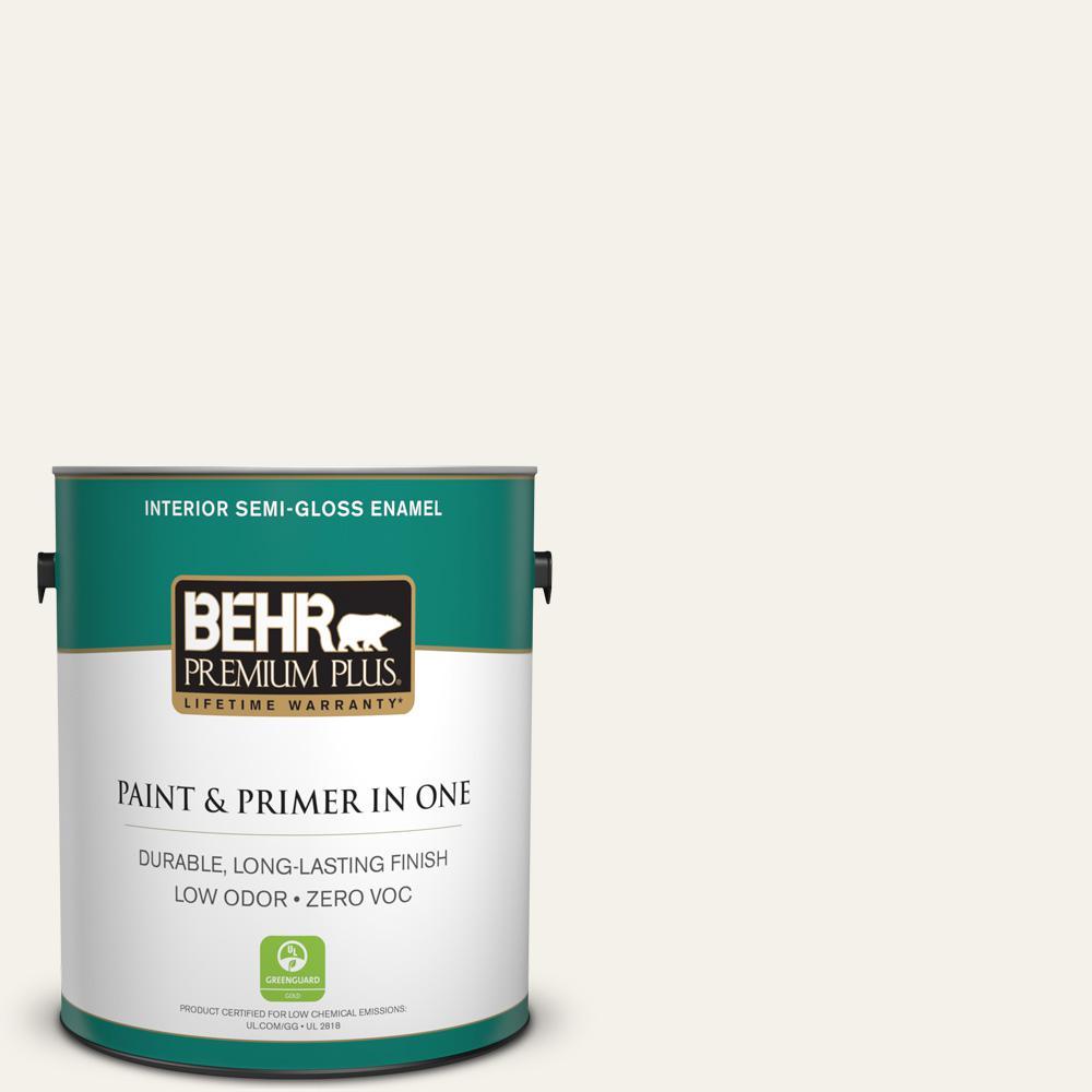 BEHR Premium Plus 1-gal. #PWN-50 Snowy Egret Zero VOC Semi-Gloss Enamel Interior Paint