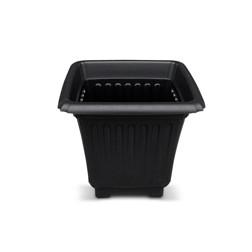 Baytown II Accessory Planter 15 in. Black Resin for Outdoor Solar