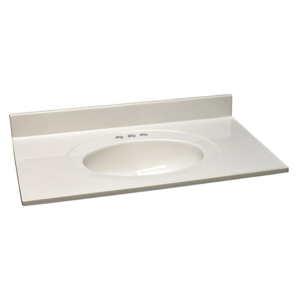 49 in. Cultured Marble Vanity Top in White on White with