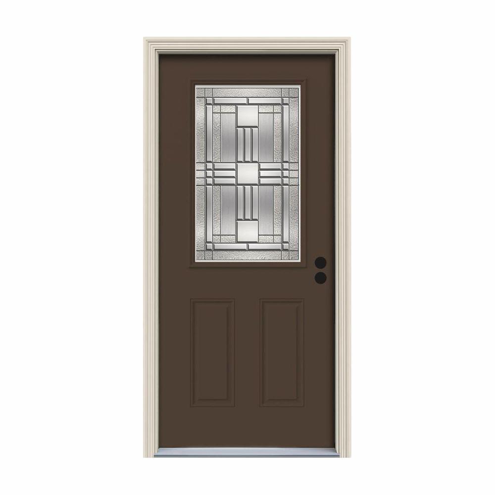 JELD-WEN 32 in. x 80 in. 1/2 Lite Cordova Dark Chocolate Painted Steel Prehung Left-Hand Inswing Front Door w/Brickmould