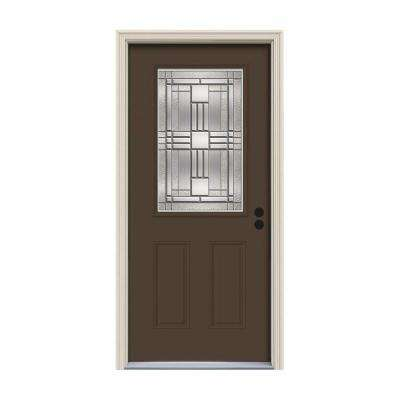 32 in. x 80 in. 1/2 Lite Cordova Dark Chocolate Painted Steel Prehung Left-Hand Inswing Front Door w/Brickmould