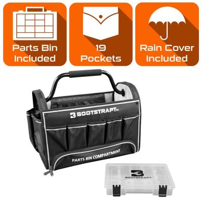 18 in. Contractor's Tote Bag with Integrated Parts Bin Compartment and Waterproof Rain Cover