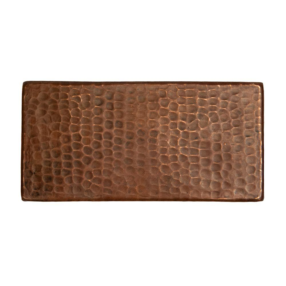 3 in. x 6 in. Hammered Copper Decorative Wall Tile in