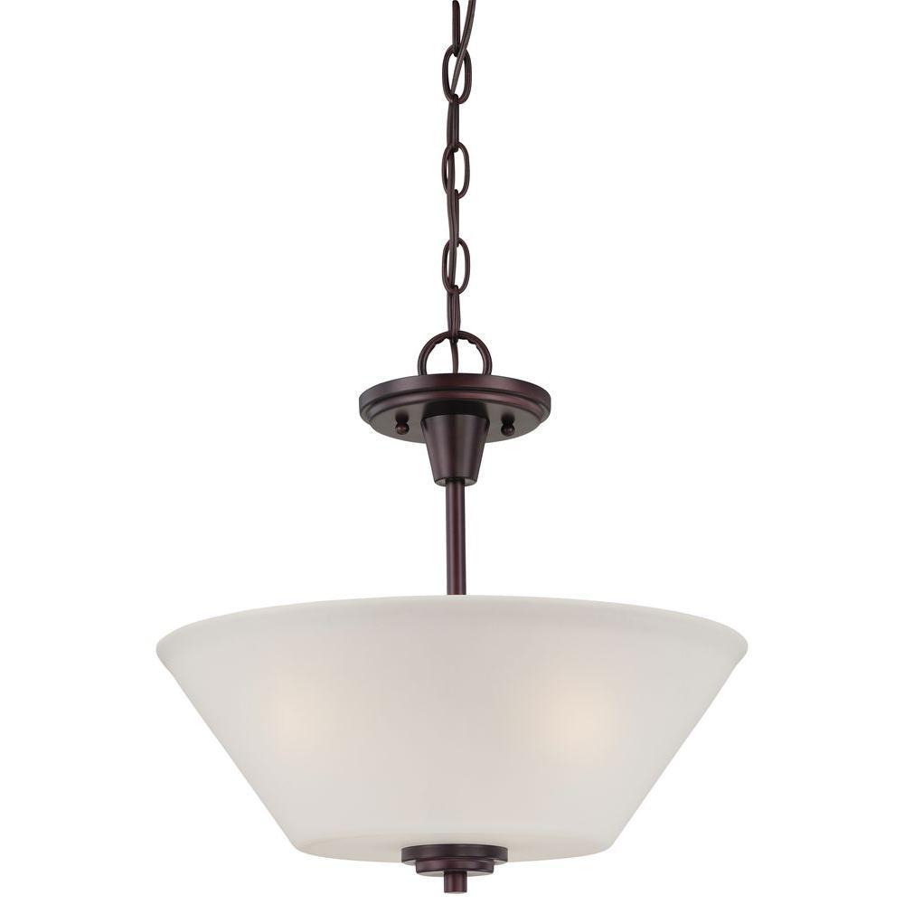 Pittman 2-Light Sienna Bronze Hanging Pendant