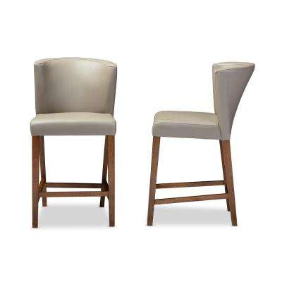 Olivia Taupe Faux Leather Upholstered 2-Piece Counter Stool Set