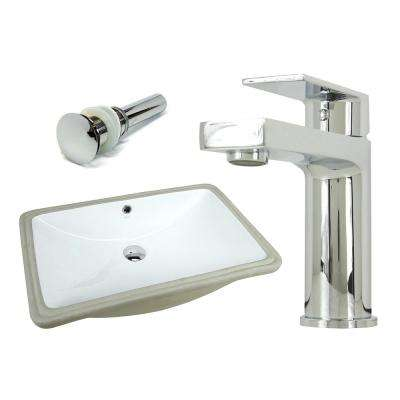 24 in. Rectangle Undermount Vitreous Glazed Ceramic Sink with Polished Chrome Bathroom Faucet /Pop-up Drain Combo