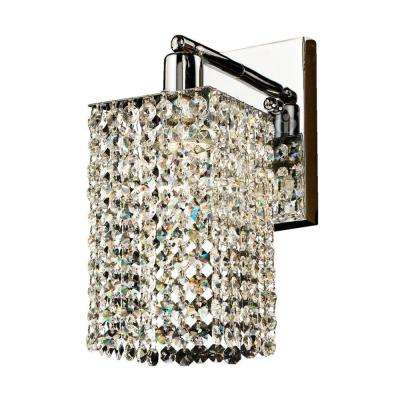 Fuzion X 1-Light Square Single Layer Crystal and Chrome Wall Sconce