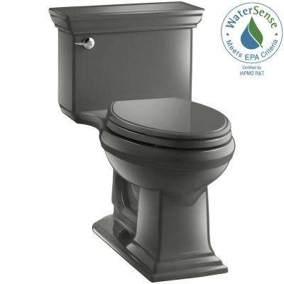 Memoris Stately 1-Piece 1.28 GPF Single Flush Elongated Toilet with AquaPiston Flush Technology in Thunder Grey