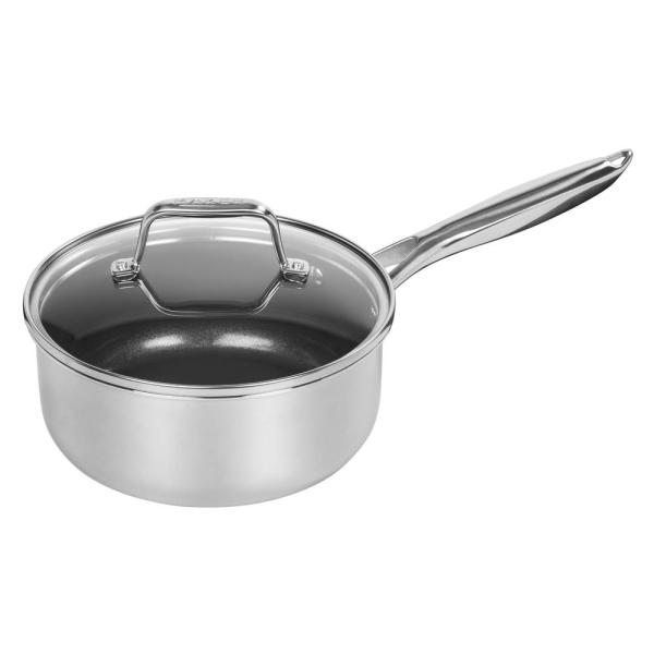 MAKER Homeware 2 Qt. Stainless Steel Saucepan with Lid