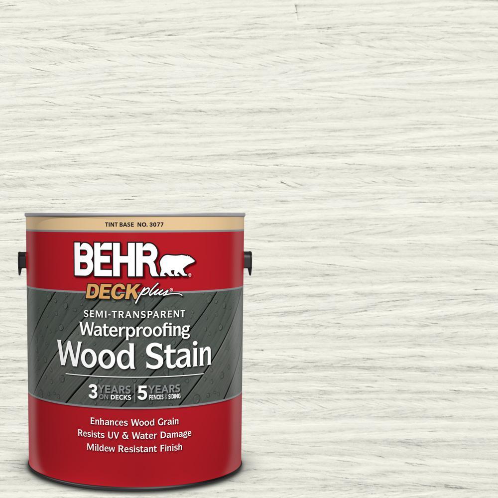 BEHR DECKplus 1 gal. #ST-337 Pinto White Semi-Transparent Waterproofing Exterior Wood Stain