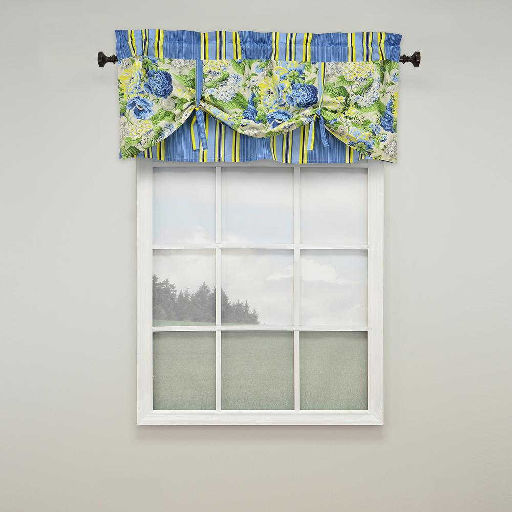 Valances Window Treatments Floral Flourish Window Valance In Porcelain - 52 In. W X 21 In. L
