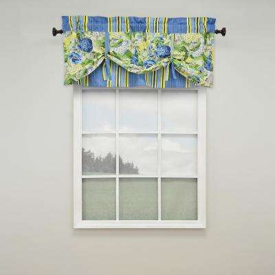 21 in. L Floral Floruish Cotton Lined Window Valance in Porcelain